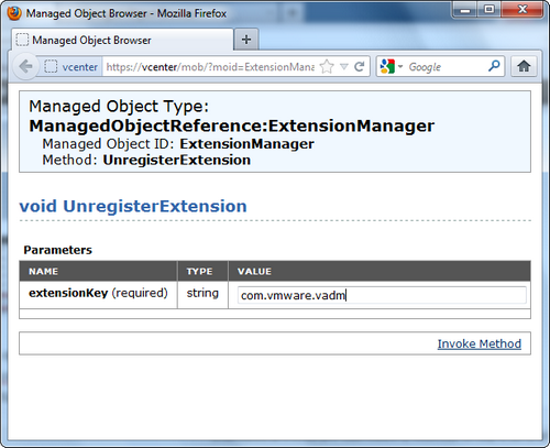 vCenter Howto: Remove a plugin from the plugin manager (including a