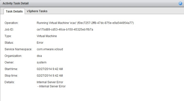 vCloud Director: Internal Server Error when starting a VM