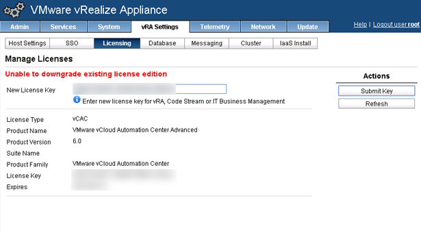 How to change vRA licenses/Unable to downgrade existing license edition