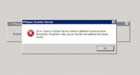 vCenter 6 upgrade: Source vCenter Server schema validation found an issue.