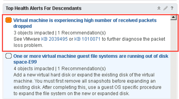 vRops: Virtual machine is experiencing a high number of received packet drops