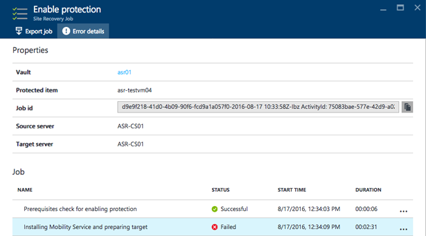 Installation of the mobility service failed on the source machine with error code EP0870 in Azure Site Recovery