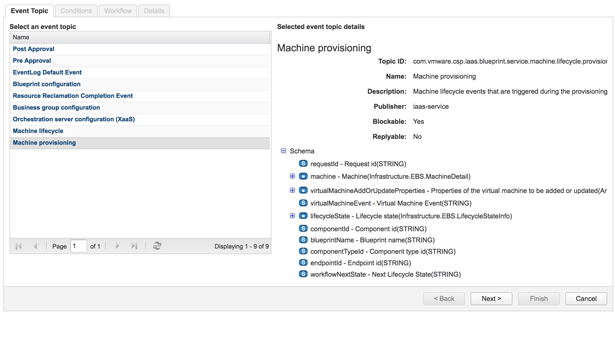 Exploring available filter properties in the vRA event broker