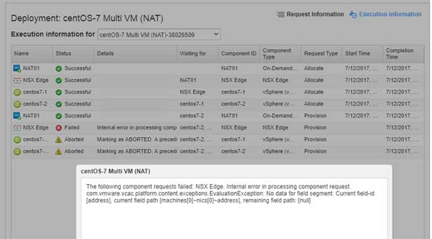 vRA/NSX error - The following component requests failed: NSX Edge.
